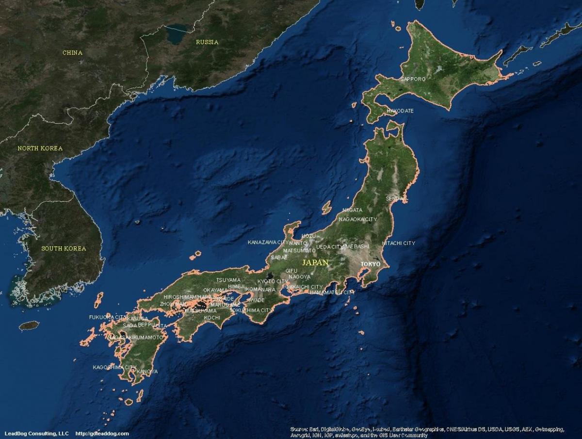Japonia Harta Prin Satelit Harta Prin Satelit De Japonia Asia